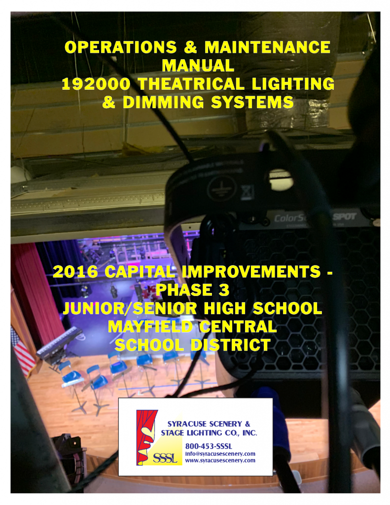 Manual cover for the Junior-Senior High School at Mayfield Central School District project