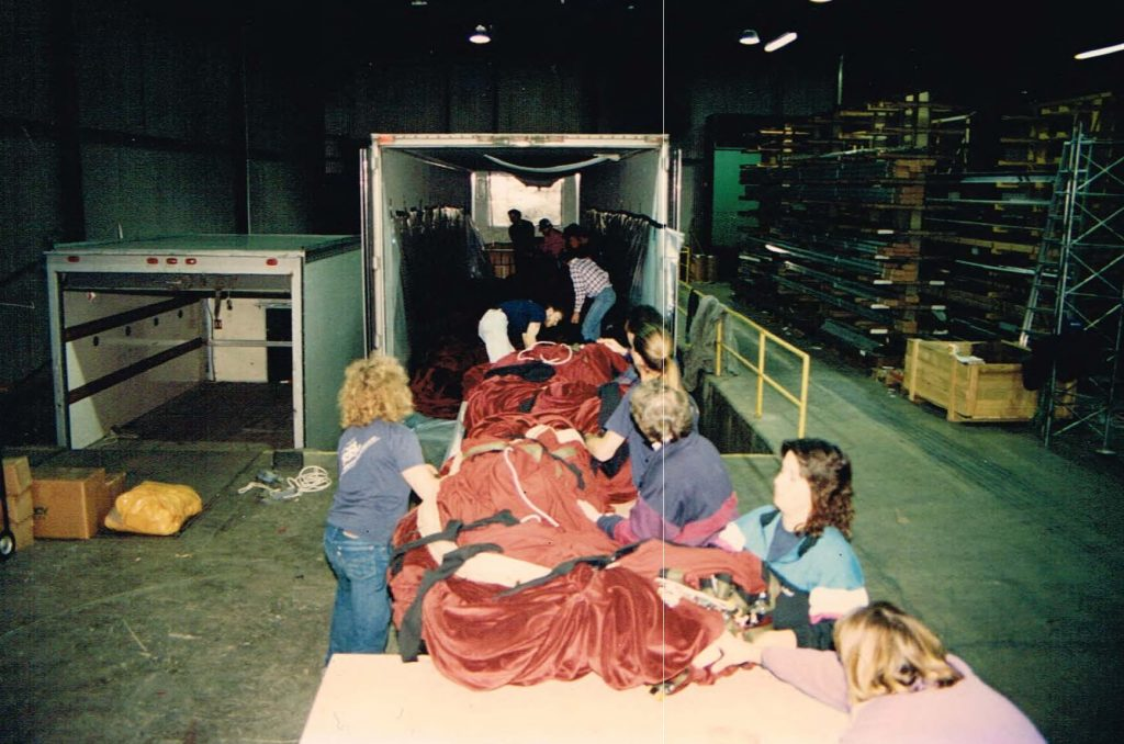 A curtain so large it needed several people to load it into its own truck for transport