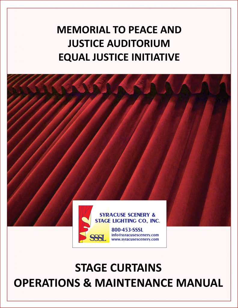 Manual cover for the Memorial to Peace and Justice Auditorium Equal Justice Initiative project