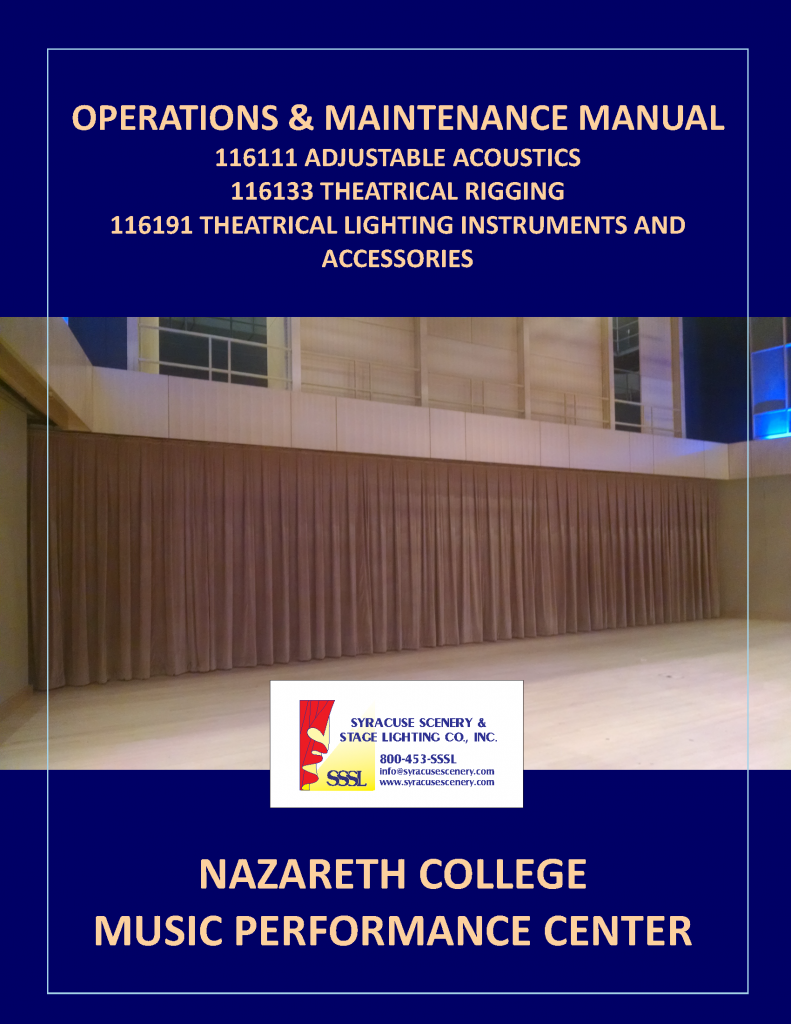 Manual cover for the Nazareth College Music Performance Center project