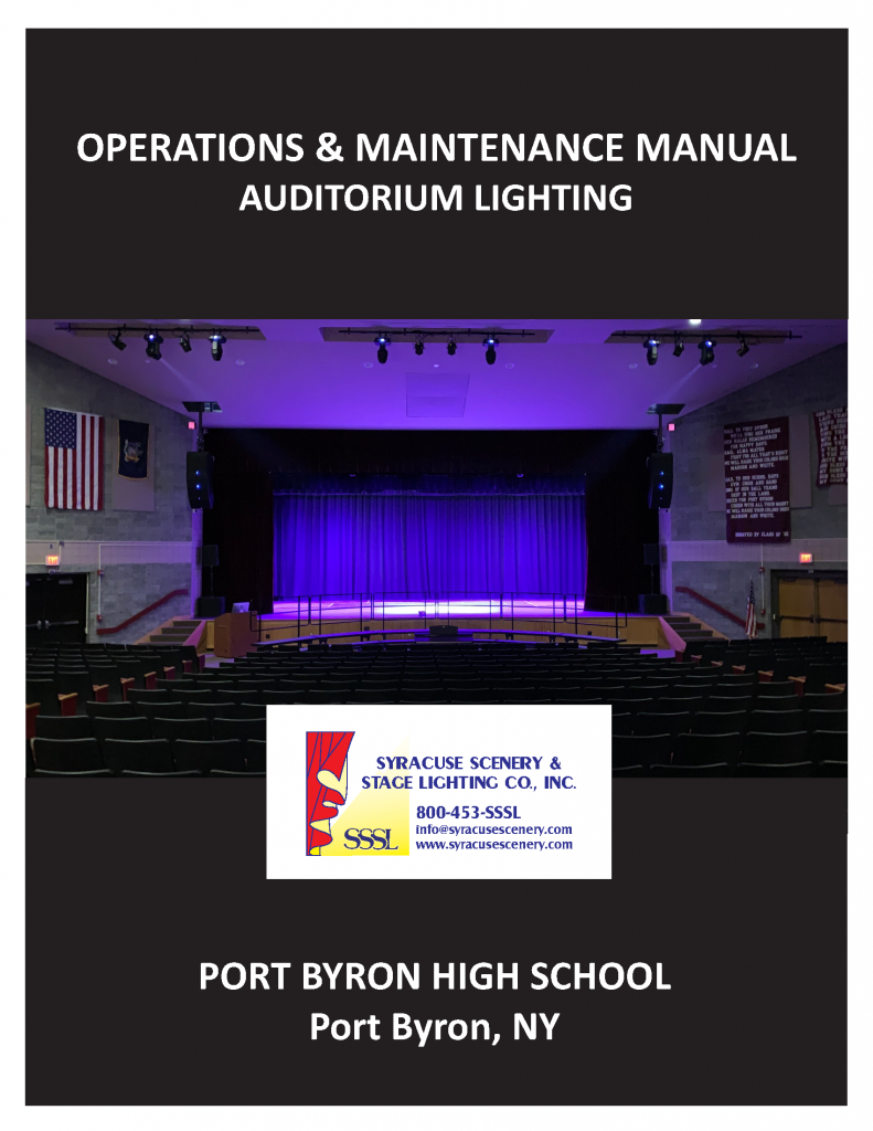 Manual cover for the Port Byron High School Auditorium Lighting project
