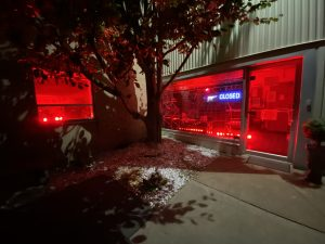 Photo of our showroom lit up red for the event